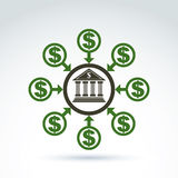 Vector banking symbol, money income icon, abstract illustration Stock Image
