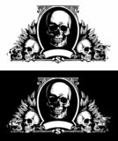 Vector banknote, dollar bill connected with human skulls. Vector skulls logo, isolated on white and black background. Vector banknote, dollar bill connected royalty free illustration