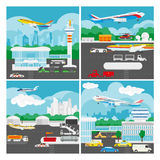 Vector banner of airport landscape. Royalty Free Stock Photography