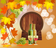 Vector banner with a barrel of wine Royalty Free Stock Photos