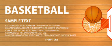 Vector banner, basketball court, a ball in basket Stock Photography