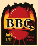Banner BBQ party with barbecues and fire. Vector banner for BBQ party with barbecues grill in the fire and inscriptions in retro style Royalty Free Stock Photo