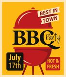Banner BBQ party with barbecues grill Stock Photos