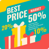 Vector banner best price in flat design, retro style. Royalty Free Stock Photos