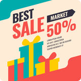 Vector banner best selling in flat design, retro style. Can be used as poster, flyer or template for online store Stock Images