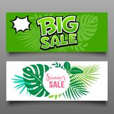 Vector Banner big sale and summer sale collections. On leaf background. vector illustration stock illustration