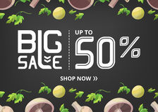 Vector banner with big sale up to fifty percent and mushrooms with parsley Stock Photo