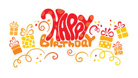 Vector banner - birthday. Vector illustration - banner  Happy birthday with gifts Stock Photos