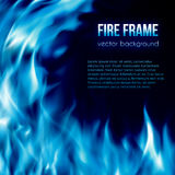 Vector banner with blue color burning fire frame. Abstract vector background with blue color burning fire flames frame and blank space for text. Fiery banner Royalty Free Stock Photo