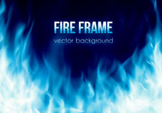 Vector banner with blue color burning fire frame. Abstract vector background with blue color burning fire flames frame and blank space for text. Fiery banner Stock Photography