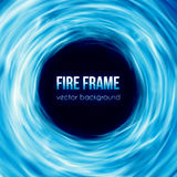 Vector banner with blue color burning fire frame Royalty Free Stock Photo