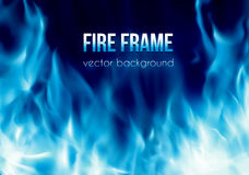 Vector banner with blue color burning fire frame. Abstract vector background with blue color burning fire flames frame and blank space for text. Fiery banner Royalty Free Stock Images