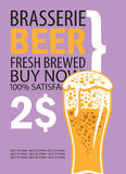 Vector banner for brasserie with glass of beer Royalty Free Stock Image