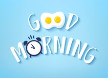 Vector banner for Breakfast with text Good Morning, fried egg and alarm clock on blue background. Cute illustration.  Stock Photography