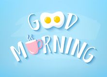 Vector banner for Breakfast with text Good Morning, fried egg and pink cup of coffee on blue background. Cute illustration for res. Taurant Royalty Free Stock Images
