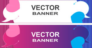 Vector banner with bubbles for a chat on a pink and blue striped background with pink and blue hearts and place for text Royalty Free Stock Image