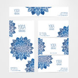 Vector banner and business card templates with watercolor abstract flowers. A set of vector banner and business card templates. Watercolor blue abstract flowers Stock Photos