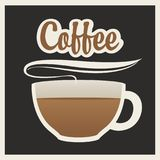 Banner with cup of hot coffee and inscription Stock Images
