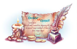 Vector banner with candle, money, inkwell and Stock Image