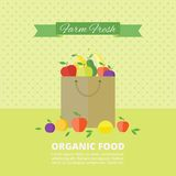 Vector banner, card with fresh fruits and berries. Banner with fresh fruits and berries in package. Vector illustration in flat style. Organic food vector illustration