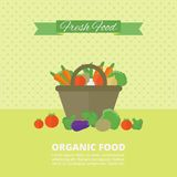 Vector banner, card with fresh fruits and vegetables. Banner with fresh vegetables and fruits in basket. Vector illustration in flat style. Organic food royalty free illustration
