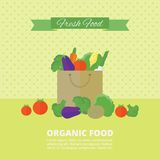 Vector banner, card with fresh fruits and vegetables. Banner with fresh vegetables and fruits in package. Vector illustration in flat style. Organic food royalty free illustration