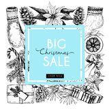 Vector banner for Christmas sale. Hand drawn vintage elements in round border composition Stock Images