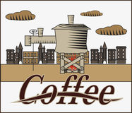 Vector banner with coffee . City Royalty Free Stock Images