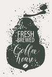 Banner for coffee house with coffee grinder. Vector banner on coffee theme in retro style with image of pointer, coffee grinder and handwritten inscription Royalty Free Stock Photo