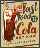 Vector banner with cola drink glass in retro style Royalty Free Stock Image