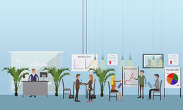 Vector banner concept with business presentations and meetings. Flat design of office workers. Royalty Free Stock Images