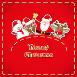 Vector banner: cute figure Santa Claus, snowman, deer, gingerbread man in jeans pocket and hand drawn text Merry Christmas Stock Images