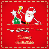 Vector banner: cute figurines Santa Claus, christmas tree in jeans pocket and hand drawn text Merry Christmas Stock Image