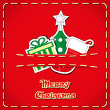 Vector banner: cute figurines santa sock, christmas tree, gift box in jeans pocket and hand drawn text Merry Christmas. Vector banner: cute figurines santa sock Stock Photos