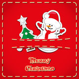 Vector banner: cute figurines snowman, christmas tree in jeans pocket and hand drawn text Merry Christmas Stock Photography