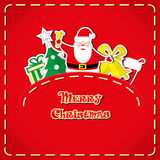 Vector banner: cute Santa Claus, christmas tree, gift box, santa's sock, bells in jeans pocket and hand drawn text Merry Christmas Stock Photos