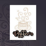 Vector Banner with Decorative Cup of Coffee with Steam Stock Photography