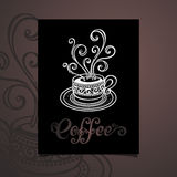 Vector Banner with Decorative Cup of Coffee with Steam Stock Photo