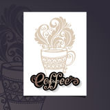 Vector Banner with Decorative Cup of Coffee with Steam Royalty Free Stock Photography