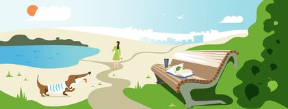 Vector banner design about summer relax. Illustration of a girl walking with a dog, a bench with a book and a glass in park,  lake stock illustration