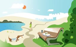 Vector banner design about summer relax. Illustration of a girl walking with a dog, a bench with a book and a glass in park royalty free illustration