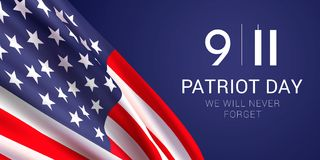 Patriot Day banner design template. Vector banner design template with american flag and text on dark blue background for Patriot Day. National Day of Prayer vector illustration