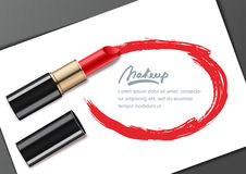 Vector banner design template with red lipstick and lipstick smears frame,  on white. Beauty and makeup. Stock Photography