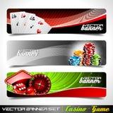 Vector banner die op een thema van het Casino wordt geplaatst. Stock Fotografie