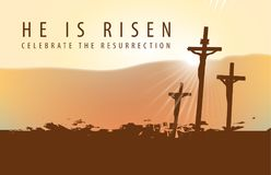 Religious landscape with crosses and inscription. Vector banner for Easter or good Friday ith the words He is risen. Landscape on a religious theme with three Royalty Free Stock Image