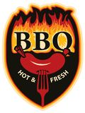 Words BBQ in flames and sausage on fork Royalty Free Stock Photos