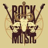 Emblem with skulls, sword, guitars and pentagram. Vector banner or emblem with words Rock music, electric guitars, a skull of a bull pierced by a sword and two Royalty Free Stock Photos