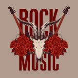 Music banner with electric guitar, roses and skull. Vector banner or emblem with words Rock music, electric guitars, a skull of a goat and red roses with barbed Stock Images