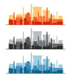 Vector banner with factories, power plants, and refineries Stock Photo