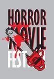 Banner for horror movie festival, scary cinema vector illustration